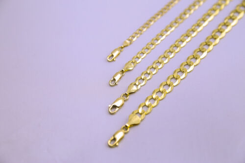 "Solid 14k Yellow Gold Necklace Chain Cuban Link 1.5mm-12mm Sz 16""-36"""