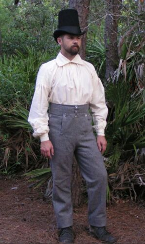 Gray Wool Fall Front Trousers - War of 1812, Napoleonic, Tex Rev - Size 42Reenactment & Reproductions - 156380