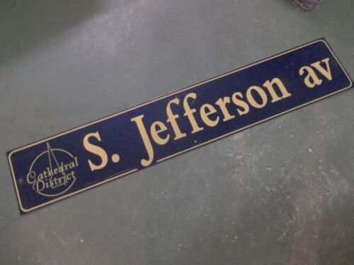 """Vintage S. JEFFERSON av Cathedral District Street Sign 48"""" X 9"""" -GOLD on NAVY"""