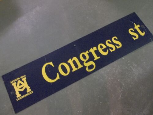 "Vintage ARTHUR HILL / CONGRESS ST STREET SIGN 48"" X 12"" GOLD LETTERING ON BLUE"