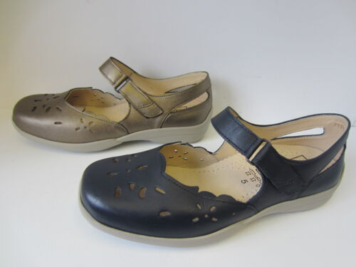 Ladies Easy B Navy / Pewter Closed Toe Leather Sandals : Erin