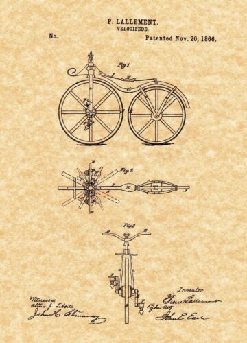 Patent Print - Velocipede / First Bicycle Patent - 1866. Ready To Be Framed!