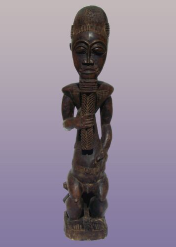 "African Baule Sitting Male Figure From Ivory Coast 41"" Tall"