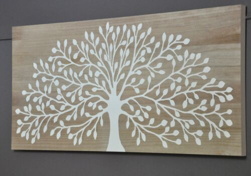 TREE OF LIFE-CARVED TIMBER WALL ART PANEL-WHITE-NATURAL WOOD BACKGROUND-carving