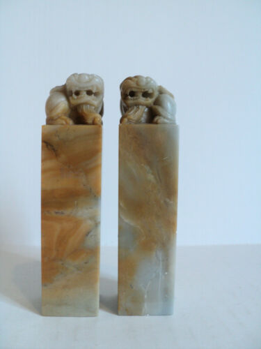 NICE PAIR ANTIQUE CHINESE JADE LETTER SEALS with FOO DOG DECORATION