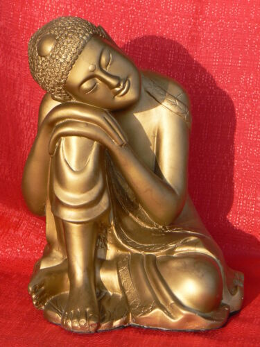 Modern Resting Buddha Statue - Copper Finish - Magnesium Composite Resin