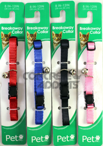 Cat Collar Breakaway Nylon w Bell Pet Inc Safety Red Black Blue Pink Kitty NEW
