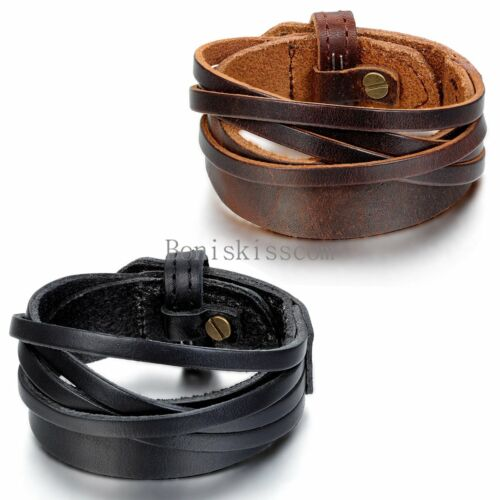 Punk Leather Wrap Cuff Bangle Bracelet Men's Women's Wristband  Unisex Jewelry