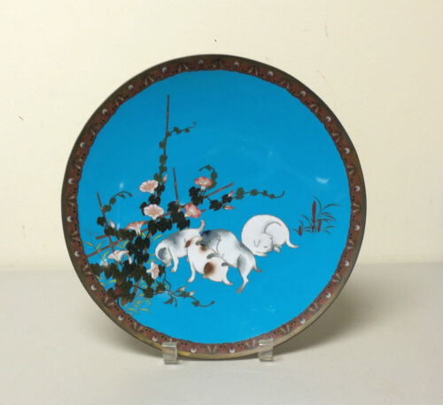 """19th C. Japanese Cloisonne Enamel 12"""" Charger, Playful Puppies"""