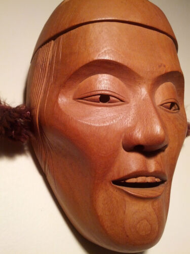 Japanese Fine-Art, Mask, Yakusugi Wood (1,000+ y.o.) Signed: Yamanaka - UNESCO