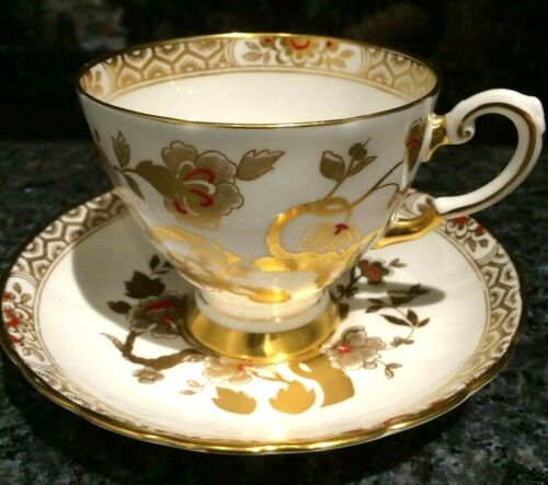 Beautiful Vintage Golden Porcelain Cup and Saucer Set by Tuscan
