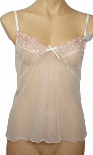 Cream & Pink Embroidered Camisole Chemise   Size 10,12,14,16   #248