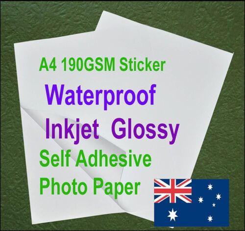 10sheets A4 190GSM Inkjet Waterproof Sticker Adhesive Glossy Photo Print Paper