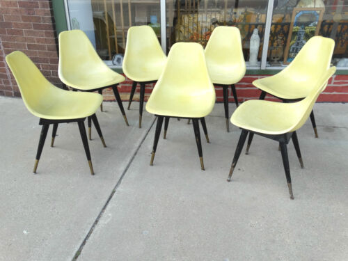 Fiberglass Shell chair with wood base & legs Vintage Mid century 7 available