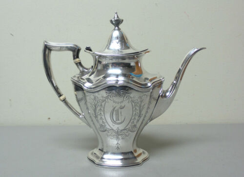REED & BARTON Sterling Silver HEPPLEWHITE Coffee / Tea Pot, Mono. C, 850 grams