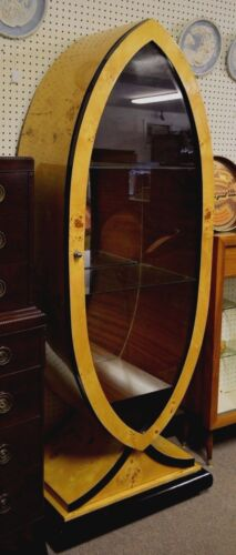 Vintage Art Deco Style Burlwood  Display Cabinet Rare French Polished