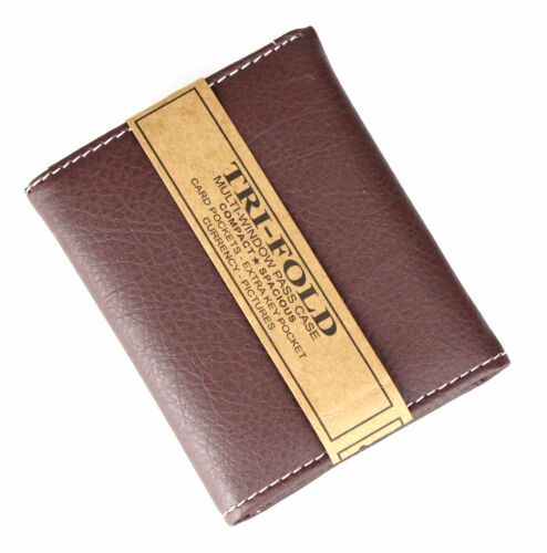 New Mens Trifold Grain Leather Wallet Case Credit Card Id Window Billfold Holder