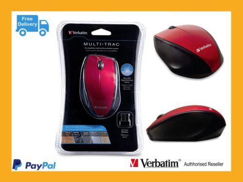 ($0 P & H) Verbatim 97995 Wireless Optical Multi-Trac Computer Mouse - Red