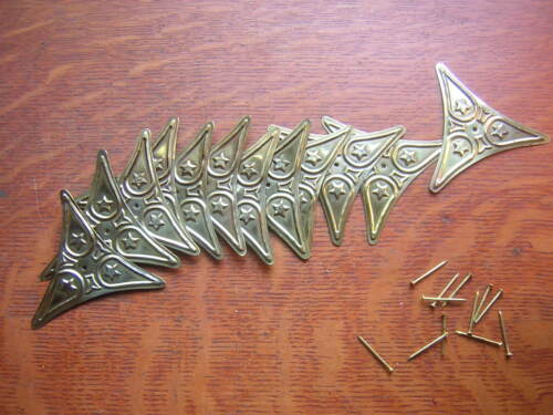 Twelve New Brass Decorative Victorian Stair Dust Corners with Nails