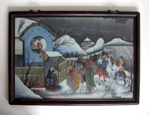 A Fine19th Century Chinese Reverse Glass Painting,Chinese figures, cracked glass
