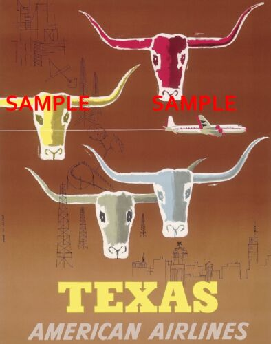 """American Airlines ( TEXAS )  11"""" x 17"""" Collector's Travel Poster Print - B2G1F"""