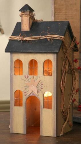PRIMITIVE WOOD Tan/Beige ELECTRIC LIGHTED SALTBOX HOUSE