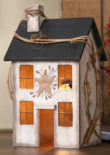 PRIMITIVE WOOD Whitewash ELECTRIC LIGHTED SALTBOX HOUSE