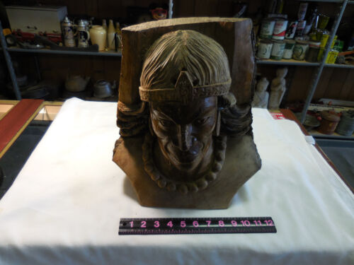 VINTAGE HAND CARVED WOODEN INDIAN HEAD--FOLK ART 14 X 9 X 8 INCHES-NOSE GLUED