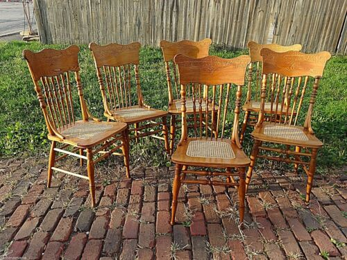 Victorian antique Set of 6 matching primative country pressback chairs for table