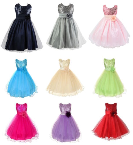 Kids Baby Flower Girls Party Sequins Dress Wedding Bridesmaid Dresses Princess