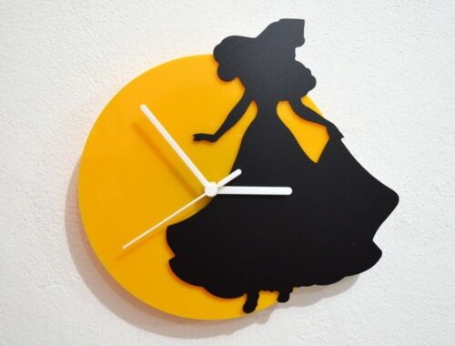 Sleeping Beauty Dancing - Black & Yellow Silhouette - Wall Clock