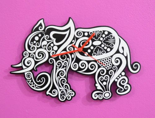 White Elephant Tribal Silhouette - Wall Clock