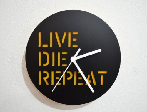 LIVE DIE REPEAT - Black & Yellow Silhouette - Wall Clock