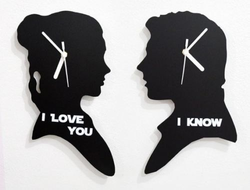 Set of two clocks - I love you, I Know - Silhouette Wall Clock