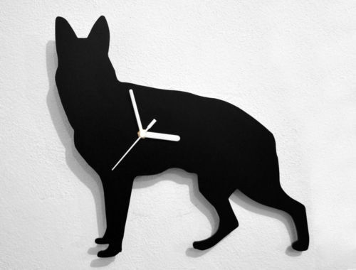 German Shepherd Silhouette - Wall Clock
