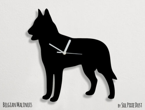 Belgian Malinois Dog Silhouette - Wall Clock