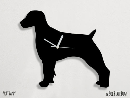 Brittany Dog Silhouette - Wall Clock