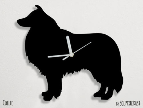 Collie Dog Silhouette - Wall Clock