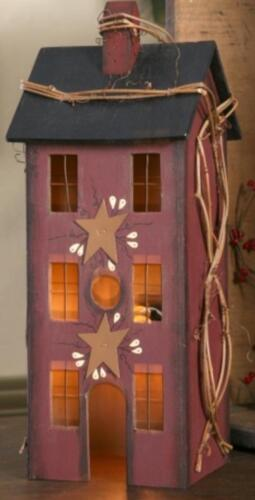 PRIMITIVE WOOD Burgundy ELECTRIC LIGHTED SALTBOX HOUSE