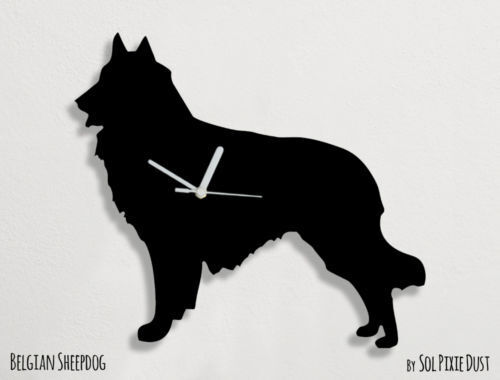 Belgian Sheepdog Dog Silhouette - Wall Clock