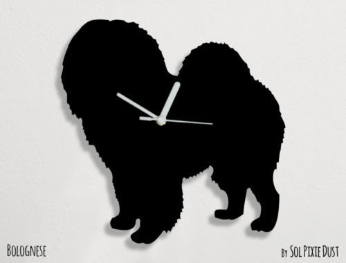 Bolognese Dog Silhouette - Wall Clock