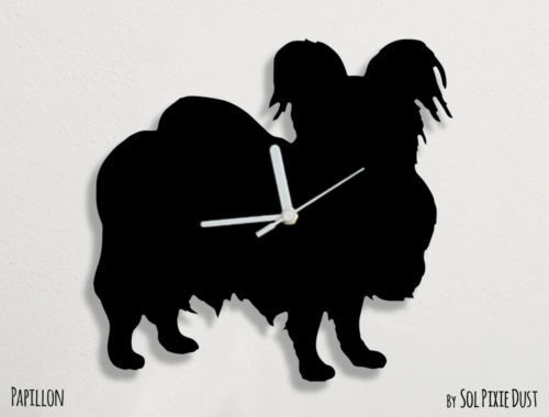 Papillon Dog Silhouette - Wall Clock