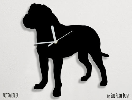 Rottweiler Dog Silhouette 1 - Wall Clock
