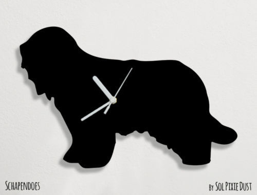 Schapendoes Dog Silhouette - Wall Clock