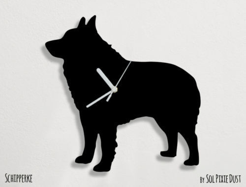Schipperke Dog Silhouette - Wall Clock