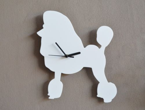 White Poodle Dog Silhouette - Wall Clock