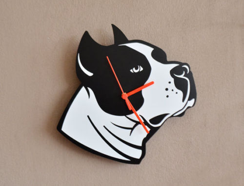Stafford Dog Silhouette - Wall Clock