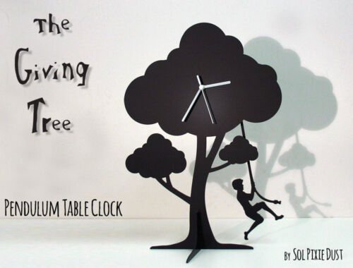 The Giving Tree - Boy Jumping - Silhouette Pendulum Table Clock