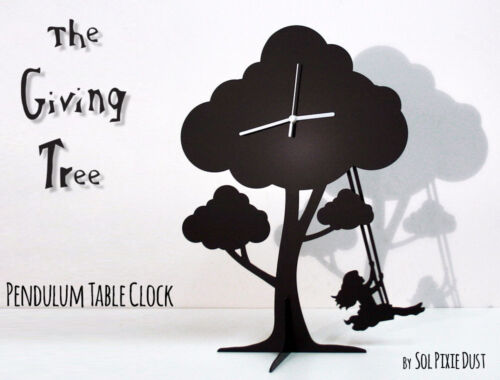 The Giving Tree - Girl Swinging - Silhouette Pendulum Table Clock