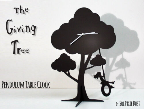 The Giving Tree - Girl Swinging on tire - Silhouette Pendulum Table Clock
